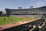 The Chicago White Sox practice at Guaranteed Rate Field on Friday, July 3, 2020, in Chicago. (AP Photo/Mark Black)