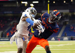 UTSA wide receiver Zakhari Franklin, right, pulls in a pass over Middle Tennessee cornerback Quincy Riley (4) for a touchdown during the first half of an NCAA college football game, Friday, Sept. 25, 2020, in San Antonio. (AP Photo/Eric Gay)