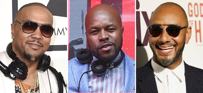"""In this combination photo, Timbaland, from left, arrives at the 58th annual Grammy Awards on Feb. 15, 2016, in Los Angeles, DJ D-Nice attends the 13th annual Apollo Theater Spring Gala After Party in New York and Swizz Beatz attends a special screening of """"Godfather of Harlem"""" on Sept. 16, 2019, in New York. The performing rights organization ASCAP announced Tuesday that Timbaland, Swizz Beatz and D-Nice will receive the ASCAP Voice of the Culture Award — a thank you for creating the uber-popular virtual events """"Verzuz"""" and """"Club Quarantine,"""" which became cultural and groundbreaking affairs celebrating music and community during the pandemic. (AP Photo)"""