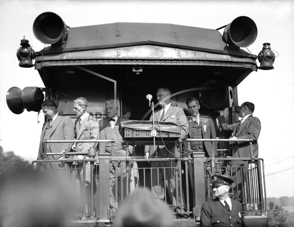 Watchf AP A  NE USA APHS329138 President Franklin Roosevelt and George W. Norris  Campaigning  Train