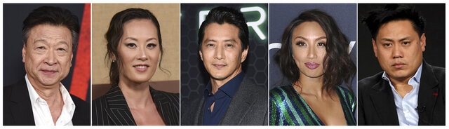 This combination photo shows Asian American actors, from left, Tzi Ma, Olivia Cheng, Will Yun Lee, Jeannie Mai and Jon M. Chu. As people across the world shelter in place due to the breakout of COVID-19, some people of Asian descent are worried about what happens when they have to leave the safety of their homes, due to the rise in hate crimes due to the growth of the virus _ which is believed to have originated in Wuhan, China. (AP Photo)