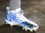 Pittsburgh Pirates' Gregory Polanco wears cleats decorated for Father's Day during the third inning of a baseball game against the Miami Marlins, Sunday, June 16, 2019, in Miami. (AP Photo/Wilfredo Lee)