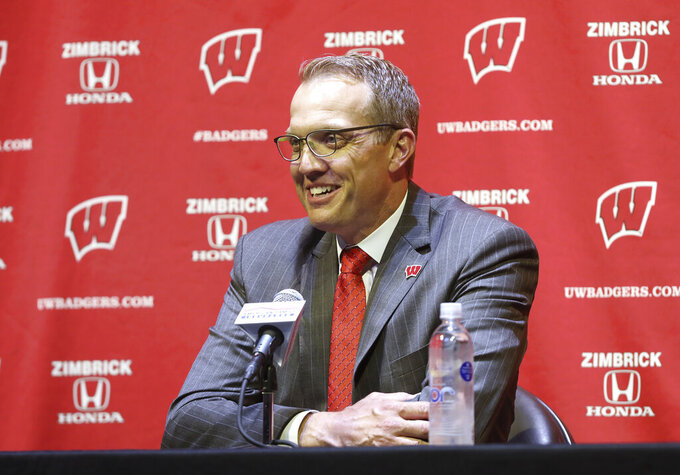 Chris McIntosh, the University of Wisconsin's new athletic director, answers questions during a news conference in Madison, Wis., Wednesday, June 2, 2021. (Amber Arnold/Wisconsin State Journal via AP)