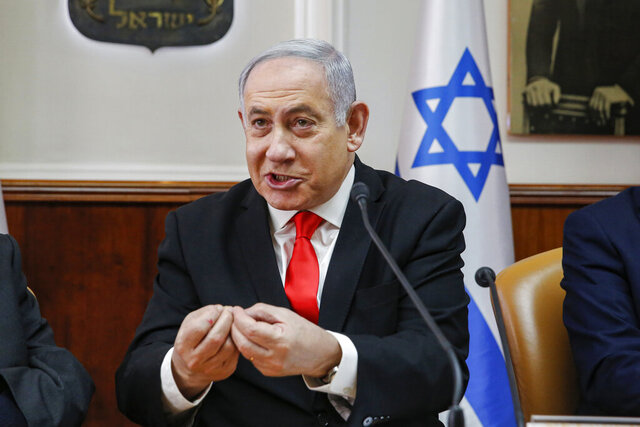 Israeli Prime Minister Benjamin Netanyahu Attends the weekly cabinet meeting at the Prime Minister's office in Jerusalem, Sunday, Jan. 19, 2020. (AP Photo/Gil Cohen-Magen, Pool)