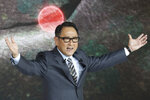 Toyota Motor Corp. President Akio Toyoda gestures during Toyota's presentation of the media preview of the Tokyo Motor Show in Tokyo Wednesday, Oct. 23, 2019. (AP Photo/Koji Sasahara)