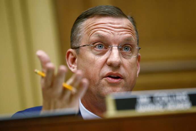 FILE - In this May 21, 2019, file photo, Rep. Doug Collins, R-Ga., ranking member of the House Judiciary Committee, speaks during a hearing without former White House Counsel Don McGahn on Capitol Hill in Washington. Collins wants to be appointed to Sen. Johnny Isakson's Senate seat when he steps down in December. (AP Photo/Patrick Semansky, File)