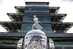 The Borg-Warner Trophy is displayed at Indianapolis Motor Speedway, Sunday, May 24, 2020, in Indianapolis. (AP Photo/Darron Cummings)