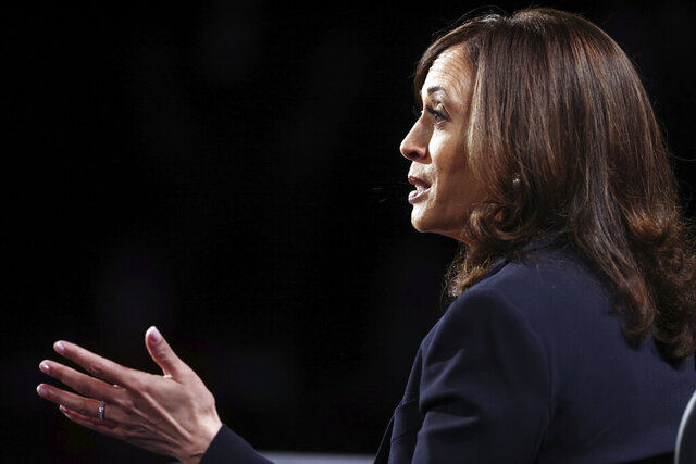 Democratic vice presidential candidate Sen. Kamala Harris, D-Calif., speaks during the vice presidential debate Wednesday, Oct. 7, 2020, at Kingsbury Hall on the campus of the University of Utah in Salt Lake City. (Justin Sullivan/Pool via AP)