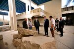 TAKES OUT REFERENCE TO DESIGNATE - Iraqi Prime Minister Mustafa al-Kahdimi, center right, inspects artifacts destroyed by Islamic State militants at the national museum during his visit to Mosul, Iraq, Wednesday, June 10, 2020. (Iraqi Prime Minister Media Office, via AP)