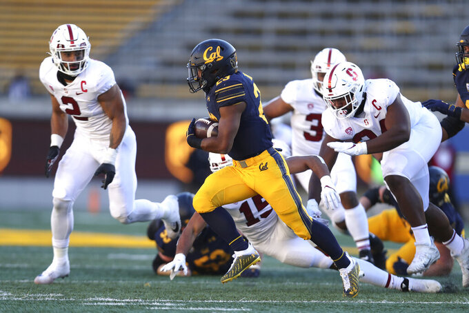 California running back Marcel Dancy (23) carries against Stanford during the first half of an NCAA college football game Friday, Nov. 27, 2020, in Berkeley, Calif. (AP Photo/Jed Jacobsohn)