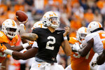 Tennessee quarterback Jarrett Guarantano (2) throws a pass for the White squard during the NCAA college football team's Orange and White spring game Saturday, April 13, 2019, in Knoxville, Tenn. (C.B. Schmelter/Chattanooga Times Free Press via AP)