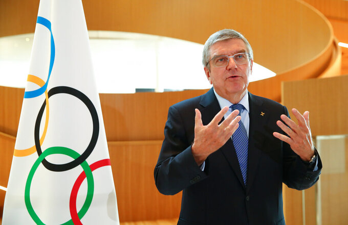 Thomas Bach, resident of the International Olympic Committee (IOC), attends an interview after the decision to postpone the Tokyo 2020 Olympic Games because of the coronavirus disease (COVID-19) outbreak, in Lausanne, Switzerland, on Wednesday, March 25, 2020. (Denis Balibouse/Keystone via AP/pool)