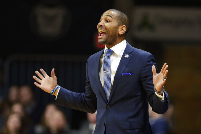 Butler head coach LaVail Jordan gestures in the second half of an NCAA college basketball game against Creighton in Indianapolis, Saturday, Jan. 4, 2020. Butler defeated Creighton 71-57. (AP Photo/Michael Conroy)