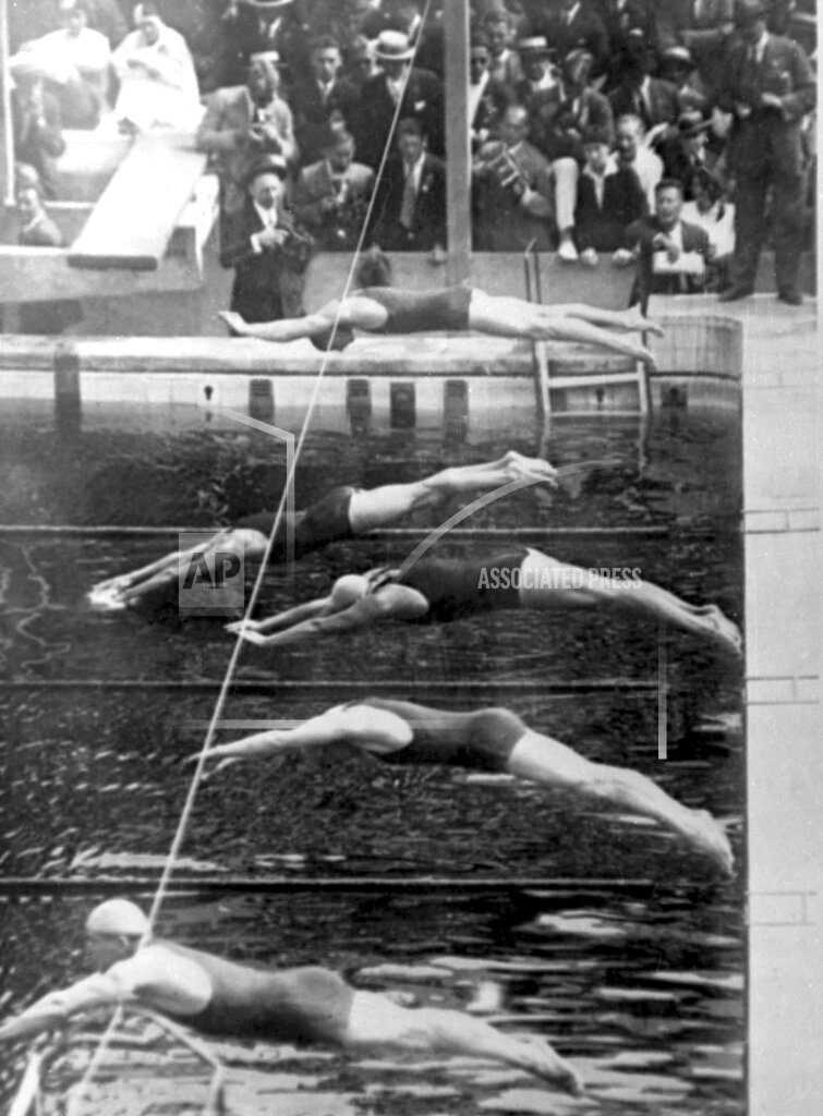 Watchf Associated Press Sports Swimming  France APHS TOURELLES WEISSMULLER 1924