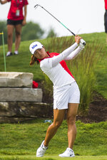 Jin Young Ko of Korea plays in the second round of the Dow Great Lakes Bay Invitational golf tournament on Thursday, July 18, 2019 at Midland Country Club in Midland, Mich. (Katy Kildee/Midland Daily News via AP)