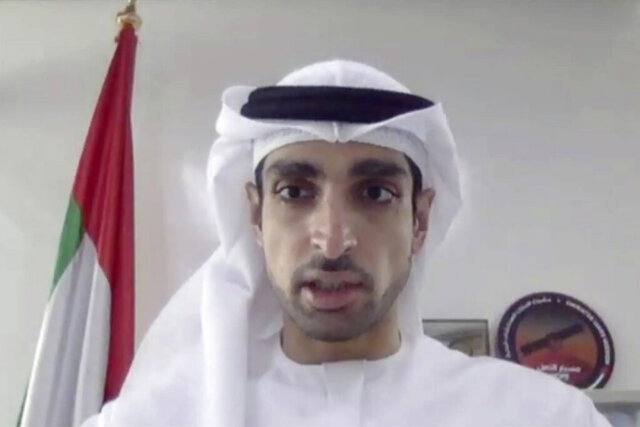 In this image made from video released by Mitsubishi Heavy Industries, project manager Omran Sharaf speaks during a pre-launch video briefing of a Mars orbiter, Monday, July 13, 2020. The United Arab Emirates is up first with the Martian orbiter set to launch from Japan on Wednesday, July 15. The liftoff of the Mars orbiter named Amal, or Hope, from Japan marked the start of a rush to fly to Earth's neighbor. (Mitsubishi Heavy Industries via AP)