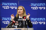 Former Israeli Foreign Minister Tzipi Livni speaks during a press conference in Tel Aviv-Yafo, Israel, Monday, Feb. 18, 2019. Livni, on Monday, announced her retirement from politics. (AP Photo/Sebastian Scheiner)