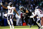 Philadelphia Eagles' Zach Ertz, center, runs after a catch for a touchdown during the first half of an NFL football game against the Chicago Bears, Sunday, Nov. 3, 2019, in Philadelphia. (AP Photo/Matt Rourke)