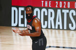 Houston Rockets guard James Harden (13) reacts to a call during the first half of an NBA basketball game against the Los Angeles Lakers, Thursday, Aug. 6, 2020, in Lake Buena Vista, Fla. (Kim Klement/Pool Photo via AP)