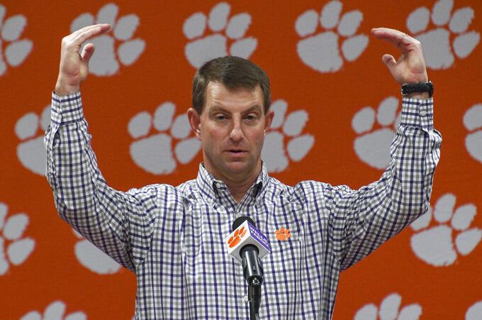 FILE - In this Feb. 5, 2020, file photo, Clemson coach Dabo Swinney speaks during an NCAA college football news conference at the Allen Reeves Football Complex in Clemson, S.C. Clemson came up short of a national title last January, but are one of the frontrunners to capture the crown in whatever season college football is able to fashion amid the coronavirus pandemic. (Ken Ruinard/The Independent-Mail via AP, File)
