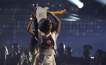 H.E.R. performs at the BET Awards on Sunday, June 27, 2021, at the Microsoft Theater in Los Angeles. (AP Photo/Chris Pizzello)