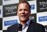 FILE - In a Monday, Sept. 3, 2012 file photo, actor Kiefer Sutherland speaks during a press conference on his TV drama