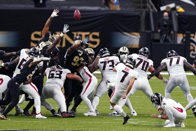Atlanta Falcons kicker Younghoe Koo (7) kicks a field goal in the first half of an NFL football game against the New Orleans Saints in New Orleans, Sunday, Nov. 22, 2020. (AP Photo/Butch Dill)