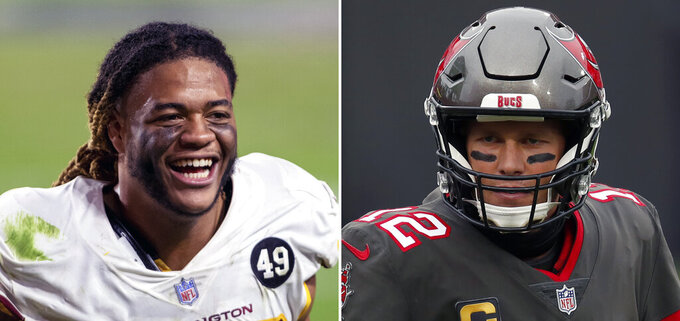 FILE - At left is a 2020 file photo showing Washington Football Team defensive end Chase Young. At right is a 2021 file photo showing Tampa Bay Buccaneers quarterback Tom Brady. Tom Brady plays his first NFL playoff game not in a New England Patriots uniform when he and the Tampa Bay Buccaneers visit defensive rookie of the year frontrunner Chase Young and NFC East champion Washington in the wild card round. Young said after clinching a spot that he wanted Brady, and now he'll get that chance. (AP Photo/File)