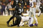 Iowa State linebacker O'Rien Vance celebrates after sacking Kansas State quarterback Skylar Thompson during the first half of an NCAA college football game, Saturday, Nov. 24, 2018, in Ames, Iowa. (AP Photo/Charlie Neibergall)