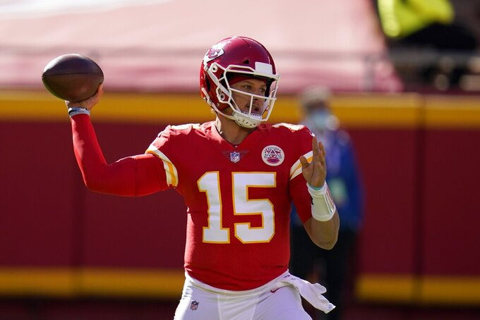 Kansas City Chiefs quarterback Patrick Mahomes (15) throws a pass in the first half of an NFL football game against the New York Jets on Sunday, Nov. 1, 2020, in Kansas City, Mo. (AP Photo/Jeff Roberson)