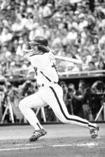 FILE - In this June 10, 1981, file photo, Philadelphia Phillies' Pete Rose belts the baseball into center field to complete his 3,630th career hit to match Stan Musial's NL record, in Philadelphia. He tied the mark in June, then had to wait until August to break it — because a strike shut down the sport for about two months. (AP Photo/Rusty Kennedy, File)