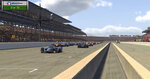 In this image taken from video provided by iRacing IndyCar, driver Scott McLaughlin, left, leads the field at the green flag during the First Responder 175 presented by GMR virtual IndyCar auto race at the Indianapolis Motor Speedway, Saturday, May 2, 2020, in Indianapolis, Ind. (iRacing IndyCar via AP)