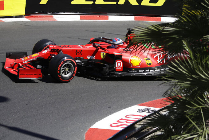 Ferrari driver Charles Leclerc of Monaco steers his car during the second free practice for Sunday's Formula One race, at the Monaco racetrack, in Monaco, Thursday, May 20, 2021. (AP Photo/Luca Bruno)