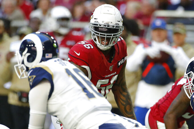 FILE - In this Dec. 1, 2019, file photo, Arizona Cardinals outside linebacker Terrell Suggs (56) lines up against the Los Angeles Rams during the first half of an NFL football game in Glendale, Ariz. The Cardinals have released the veteran linebacker on Friday, Dec. 13, 2019, with three games remaining in a disappointing season for both the player and the team.(AP Photo/Rick Scuteri)