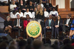 Sen. Kelly Loeffler, R-Ga., speaks during the Martin Luther King, Jr. annual commemorative service at Ebenezer Baptist Church in Atlanta on Monday, Jan. 20, 2020. (Branden Camp/Atlanta Journal-Constitution via AP)
