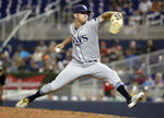 Tampa Bay Rays reliever Emilio Pagan throws during the fifth inning of the team's baseball game against the Miami Marlins, Wednesday, May 15, 2019, in Miami. (AP Photo/Lynne Sladky)