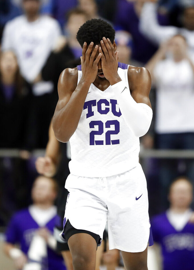 TCU guard RJ Nembhard (22) walks upcourt after being charged with a foul in the second half of an NCAA college basketball game against Kansas State in Fort Worth, Texas, Monday, March 4, 2019. (AP Photo/Tony Gutierrez)
