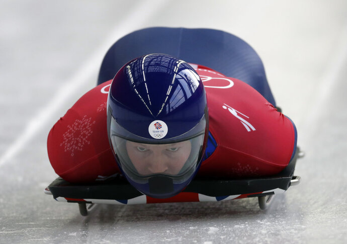 Jerry Rice of Britain starts his practice run during the men's skeleton training at the 2018 Winter Olympics in Pyeongchang, South Korea, Wednesday, Feb. 14, 2018. (AP Photo/Wong Maye-E)