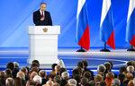Russian President Vladimir Putin addresses the State Council in Moscow, Russia, Wednesday, Jan. 15, 2020. (AP Photo/Alexander Zemlianichenko, Pool)