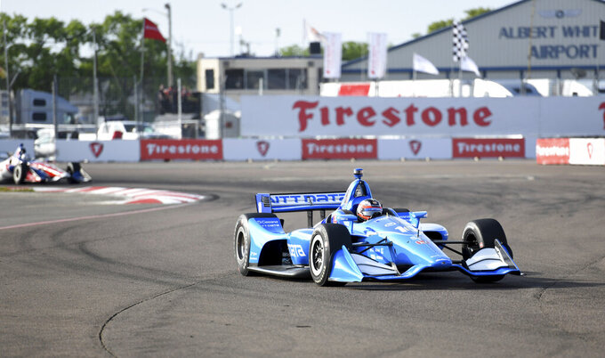 Chip Ganassi Racing driver Felix Rosenqvist (10) of Sweden drives through turn two during the warm up at IndyCar Firestone Grand Prix of St. Petersburg Sunday, March 10, 2019, in St Petersburg, Fla. (AP Photo/Jason Behnken)