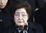 FILE - In this Dec. 27, 2011, file photo, Lee Hee-ho, the wife of the late former South Korean President Kim Dae-jung, arrives at the Inter-Korean Transit Office from North Korea at the border village of Paju in the demilitarized zone, South Korea. Lee, a South Korean feminist activist who fought for democracy against dictatorships alongside her husband and future President Kim Dae-jung, has died. She was 96. (AP Photo/Wally Santana, File)