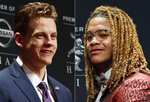 FILE - In these Dec. 14, 2019, file photos, Joe Burrow, left, and Chase Young attend the Heisman Award ceremonies in New York. Joe Burrow and the Cincinnati Bengals visit Chase Young and Washington in a matchup of the top two picks in this year's NFL draft. (AP Photo/Jason Szenes, File)