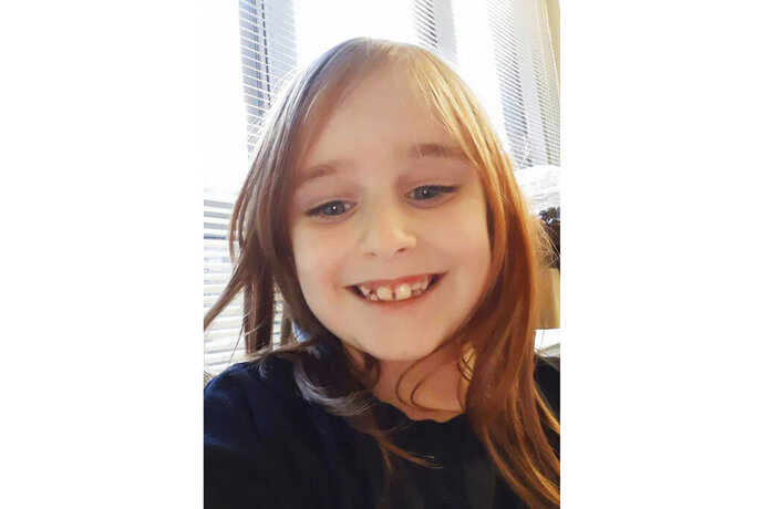 This undated photo provided by the Cayce Department of Public Safety shows Faye Marie Swetlik, who has been missing since shortly after getting off her school bus near her South Carolina home Monday, Feb. 10, 2020. Investigators say they have no evidence that the girl was kidnapped from her neighborhood in the state's central city of Cayce, S.C. Authorities have not ruled out that the girl was abducted (Cayce Department of Public Safety via AP)