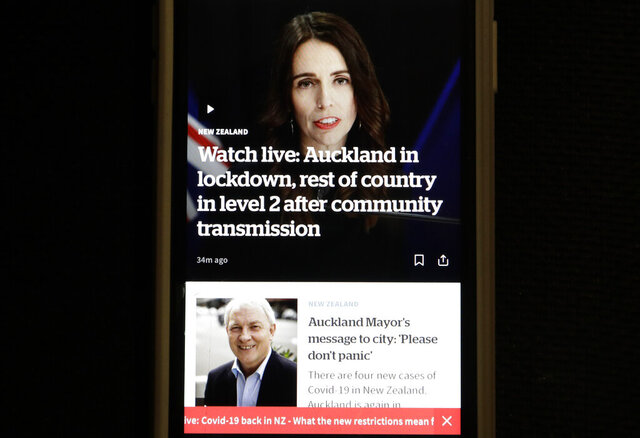 A news alert is displayed on a mobile phone in Christchurch, New Zealand, Tuesday, Aug. 11, 2020. New Zealand Prime Minister Jacinda Ardern said Tuesday that authorities have found four cases of the coronavirus in one Auckland household from an unknown source, the first cases of local transmission in the country in 102 days. (AP Photo/Mark Baker)