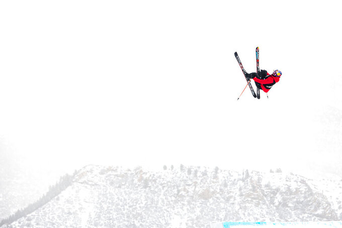X Games rookie Eileen Gu competes in the women's ski slopestyle final during the Winter X Games at Buttermilk on Saturday, Jan. 30, 2021, in Aspen, Colo. (Kelsey Brunner/The Aspen Times via AP)