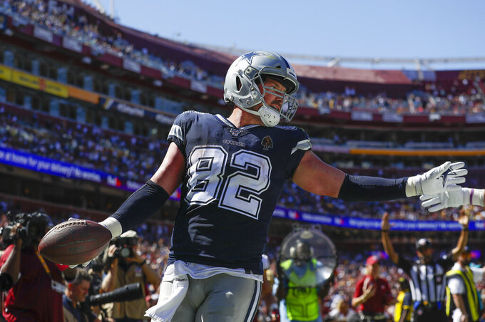 Dallas Cowboys tight end Jason Witten celebrates his touchdown run against the Washington Redskins in the first half of an NFL football game, Sunday, Sept. 15, 2019, in Landover, Md. (AP Photo/Evan Vucci)