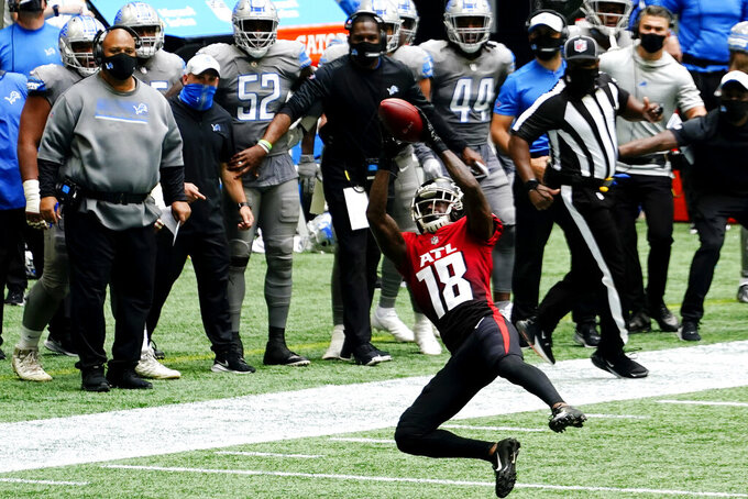Atlanta Falcons wide receiver Calvin Ridley (18) makes the catch against the Detroit Lions during the first half of an NFL football game, Sunday, Oct. 25, 2020, in Atlanta. (AP Photo/Brynn Anderson)