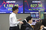 A currency trader gestures at the foreign exchange dealing room of the KEB Hana Bank headquarters in Seoul, South Korea, Monday, Dec. 9, 2019. Asian shares were mostly higher Monday cheered by a buying mood on Wall Street that came at the end of last week. (AP Photo/Ahn Young-joon)