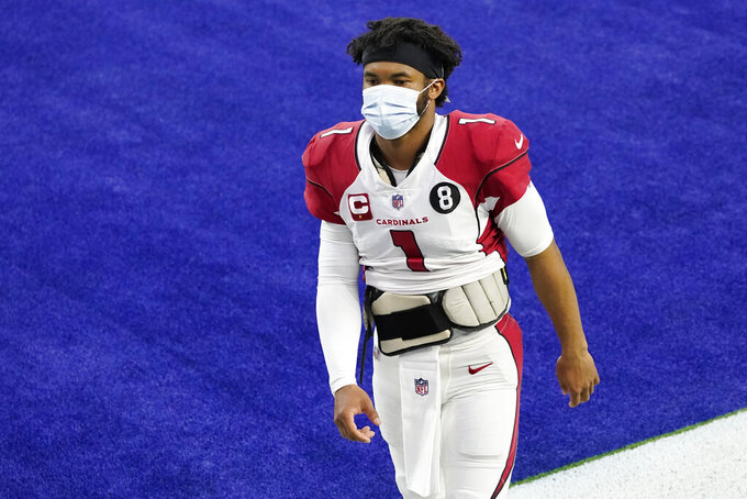 Arizona Cardinals quarterback Kyler Murray walks off the field after a loss to the Los Angeles Rams during an NFL football game Sunday, Jan. 3, 2021, in Inglewood, Calif. (AP Photo/Ashley Landis)