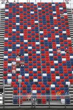 Fans watch a NASCAR Cup Series auto race at Talladega Superspeedway in Talladega Ala., Monday, June 22, 2020. (AP Photo/John Bazemore)
